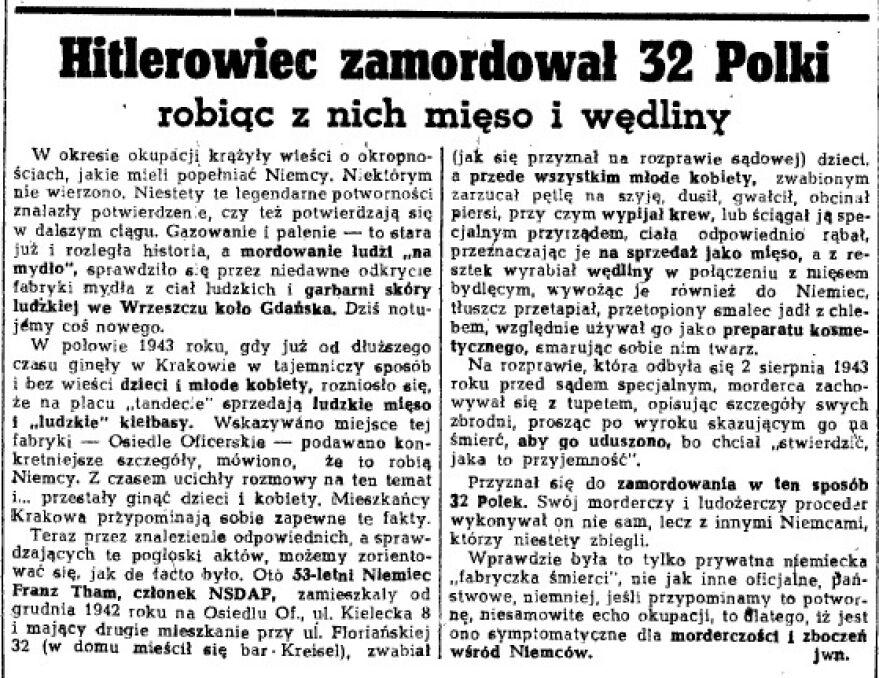 Hitlerowiec zamordował 32 Polki- donosiła prasa