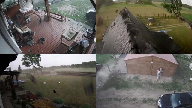 """Wichura """"rozebrała"""" dach domu, zawaliła budynek  i uszkodziła samochody.  Dramatyczne nagranie"""