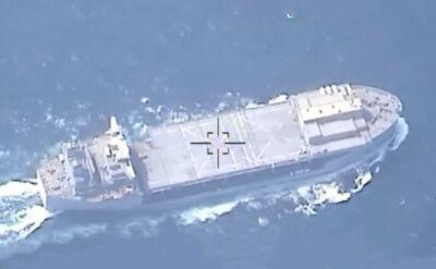 Irański dron filmujący amerykańskie okręty nad Zatoką Perską