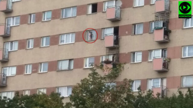 A 3-year-old boy walked on a windowsill on the 7th floor