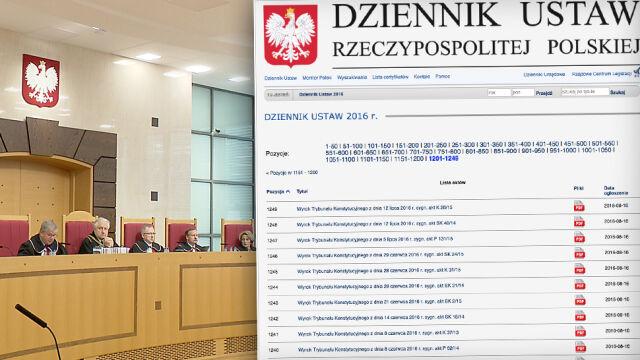 Rząd opublikował zaległe wyroki Trybunału Konstytucyjnego. Poza dwoma