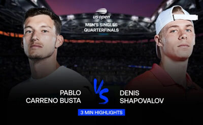 Skrót meczu Carreno-Busta - Shapovalov w ćwierćfinale US Open
