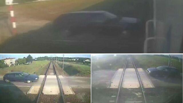 Zlekceważył czerwone światło, otarł się  o pociąg i odjechał. Szuka go policja