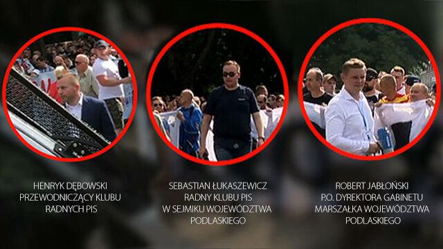 Działacze PiS nagrani wśród kontrmanifestantów.
