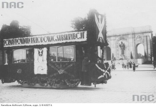 1933r. - tramwaj z hasłami propagującymi pożyczkę narodową