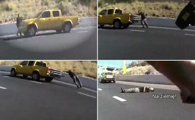Biegiem po autostradzie. Ucieczka podejrzanego i niebezpieczny pościg