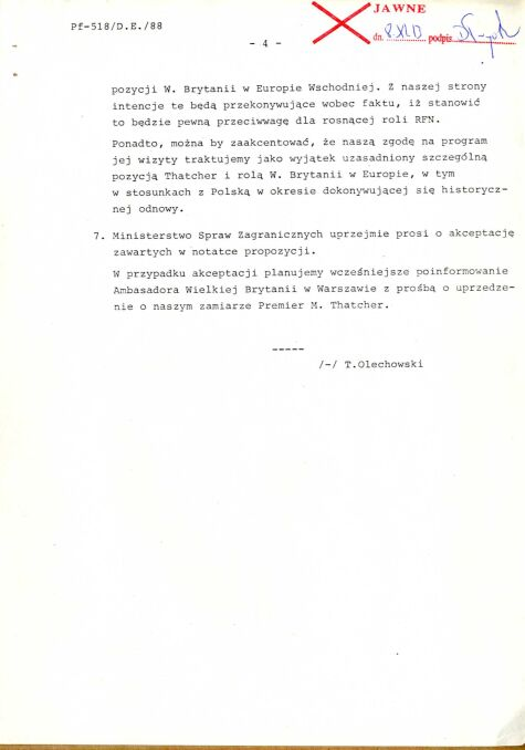 Notatka informacyjna dotycząca wykorzystania wizyty w Polsce Premier Wielkiej Brytanii M. Thatcher w sprawie programu długofalowego rozwiązania polskiego zadłużenia, 8 października 1988 r., str.4