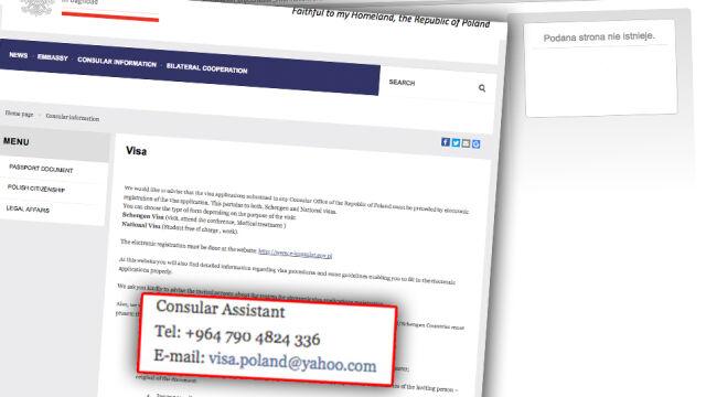 Fałszywy mail na stronie ambasady RP w Iraku. Cena za wizę? Do negocjacji