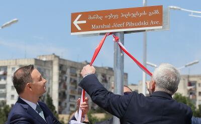Prezydent Duda na otwarciu alei Piłsudskiego w Tbilisi