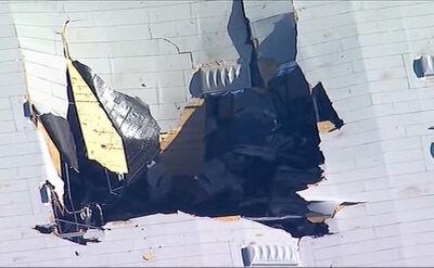 Samolot uderzył w magazyn na końcu pasa startowego