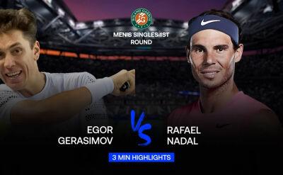 Skrót meczu Gierasimow - Nadal w 1. rundzie Roland Garros