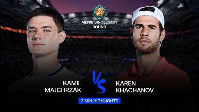 Skrót meczu Majchrzak - Chaczanow w 1. rundzie Roland Garros