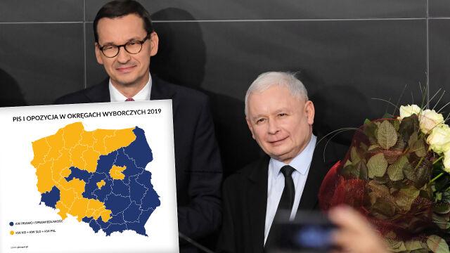 PiS wygrało, mimo że zebrało mniej głosów niż opozycja, czyli wyborcze mapy kraju