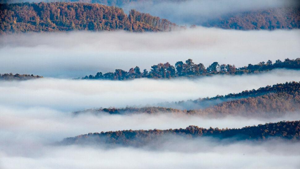 Poranna mgła unosi się w pobliżu Kekesteto, Węgry