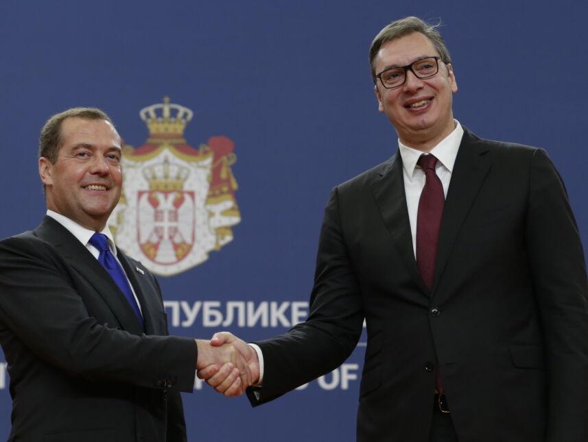 Premier Rosji Dmitrij Miedwiediew z wizytą w Serbii