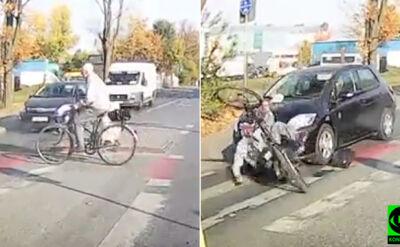 """Wjechała wprost na rowerzystę. """"Brak ostrożności"""""""