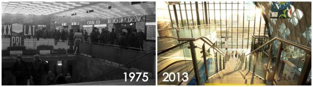 Hol starego dworca sprzed 40 lat i hol nowego budynku