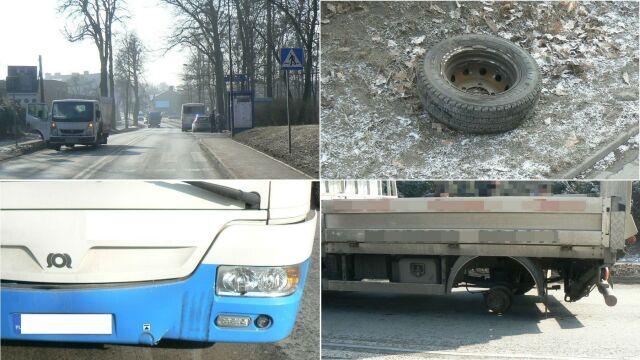 Urwane koła z jadącej ciężarówki uderzyły w mężczyznę i autobus
