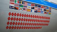"""Lista """"zaliczonych"""" huraganów oznaczona na burcie jednego z samolotów NOAA na wzór wojskowych oznaczeń zestrzeleń"""