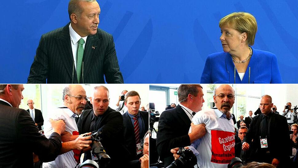 Dziennikarz wyprowadzony  z konferencji Merkel i Erdogana
