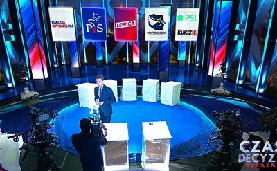 """Sasin, Leszczyna, Zandberg, Kosiniak-Kamysz i Bosak. """"Czas decyzji: debata"""" dziś o 19.25 w TVN24"""