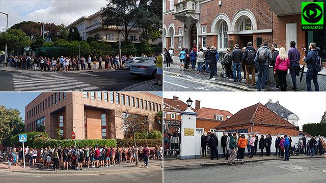 """Głosowanie za granicą, kolejki przed konsulatami. """"Pierwszy raz widzę coś takiego"""""""