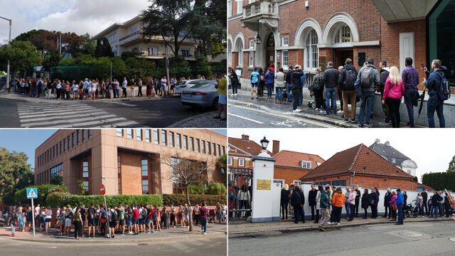 """Polacy głosują za granicą, kolejki przed konsulatami. """"Pierwszy raz widzę coś takiego"""""""