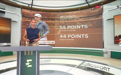 Studio Eurosport Cube przed meczem Świątek w półfinale Roland Garros