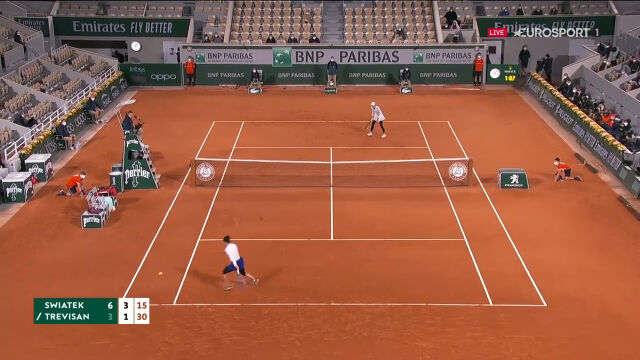 Długa wymiana wygrana przez Świątek w ćwierćfinale Roland Garros