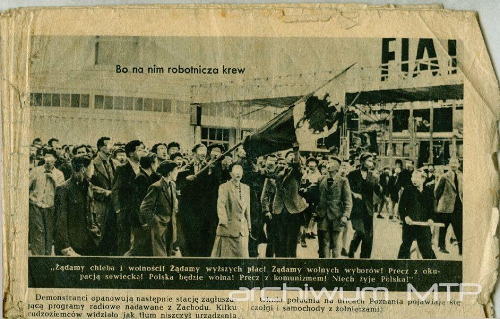 28 czerwca 1956 r. uczestnicy pochodu na terenie MTP. Fotografia z biuletynu informacyjnego nr 7 - wrzesień 1956 Wolnej Europy