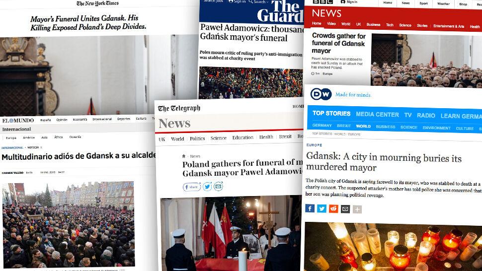 """""""Polska płacze"""". Pogrzeb Adamowicza na czołówkach zagranicznych mediów"""