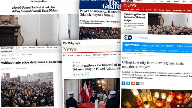 Pogrzeb Adamowicza na czołówkach zagranicznych mediów