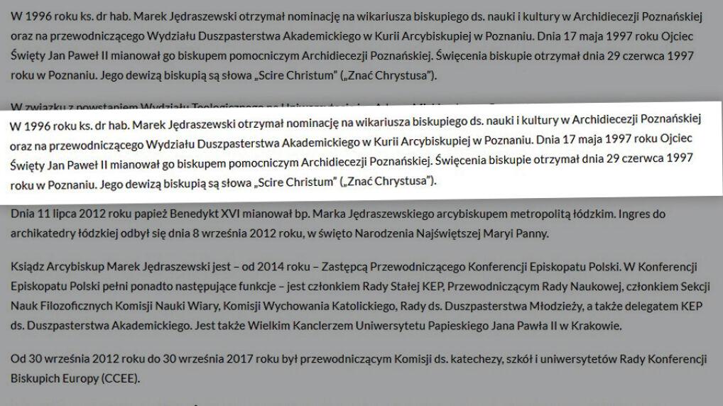Biogram Marka Jędraszewskiego na stronie Archidiecezji Krakowskiej obecnie