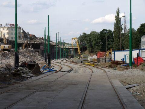 Za Rondem Kaponiera tramwaje lekko skręcą w lewo