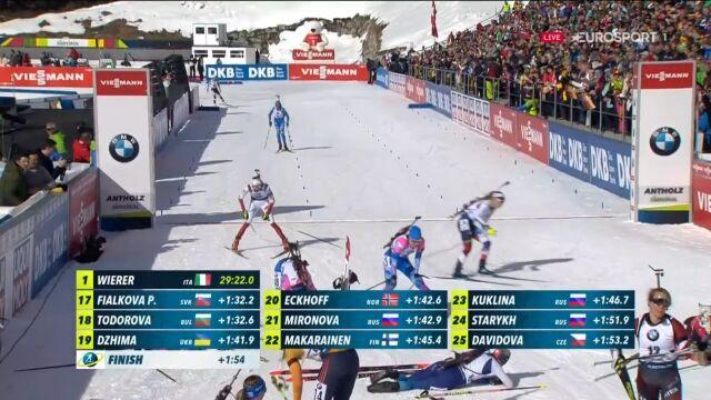 26. miejsce Hojnisz-Staręgi w biegu pościgowym, Wierer mistrzynią świata