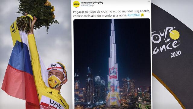 Wyraz uznania dla zwycięzcy Tour de France na najwyższym budynku świata