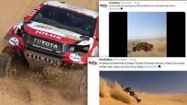Groza na Dakarze. Auto Alonso koziołkowało, inne wystrzeliło jak z katapulty