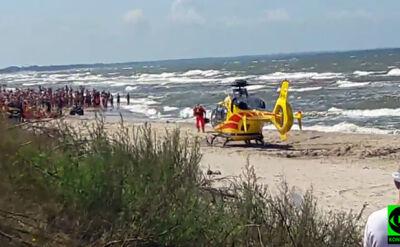 Czerwona flaga, niestrzeżona plaża. Cztery osoby nie mogły wyjść z morza