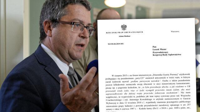 Rzecznik Praw Obywatelskich pisze w sprawie sędziego Dudzicza