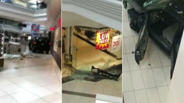 Wjechał do centrum handlowego, demolował stoiska