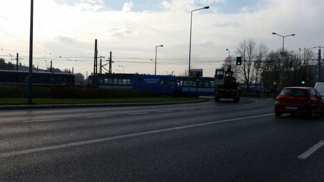 Wykolejone tramwaje  w centrum Krakowa