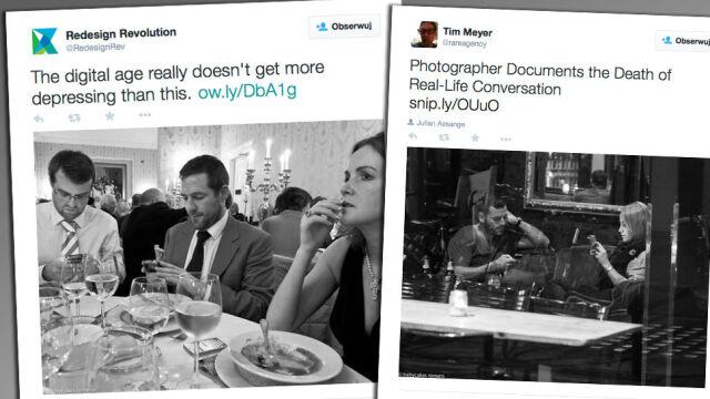 """""""Łączy ich jedno: wpatrują się w ekran smartfona"""". Zdjęcia dokumentują śmierć konwersacji"""
