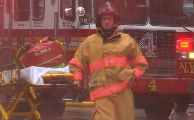 Nowy Jork. Służby ratunkowe po wypadku helikoptera