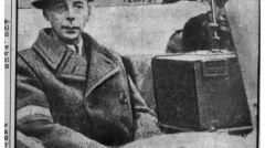 Fotokopia brytyjskiego dziennika ze zdjęciem gen. Tadeusza Bora-Komorowskiego udającego się do niewoli, po powstaniu warszawskim