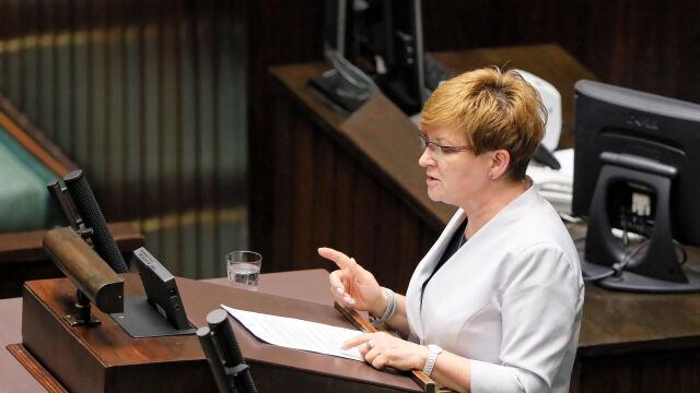 Urszula Augustyn podczas debaty nad wotum nieufności dla minister Zalewskiej