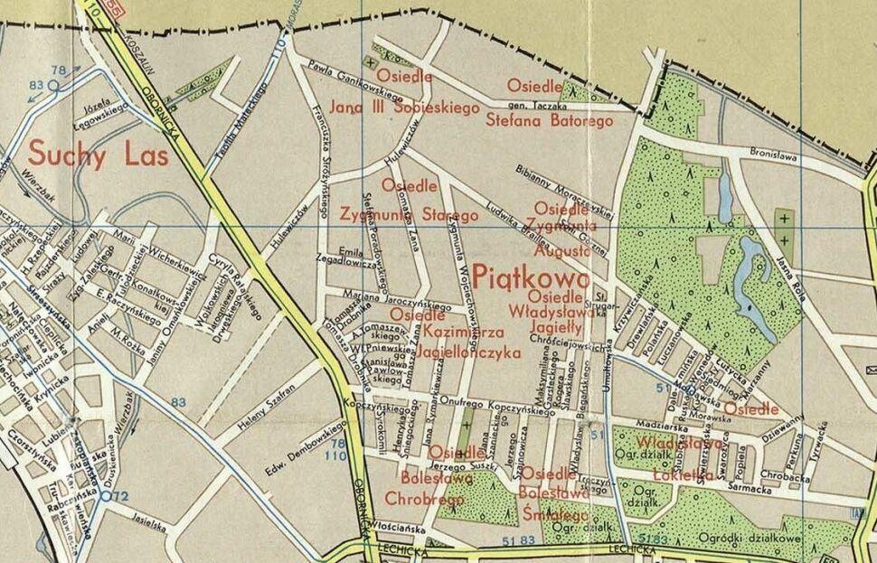 Piątkowo na planie miasta z 1978 r.