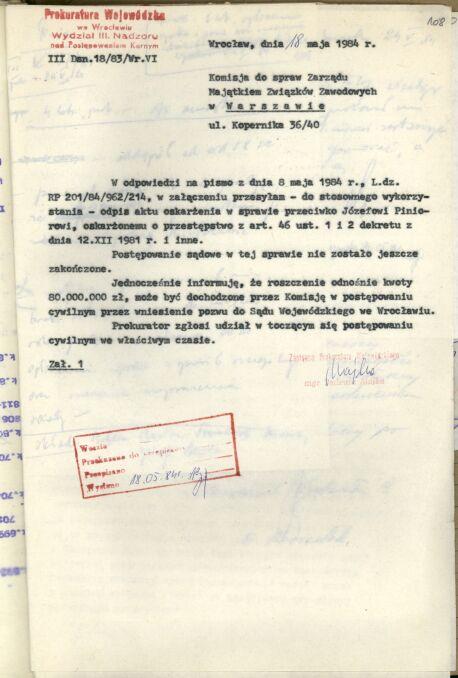 W piśmie do Komisji do spraw Zarządu Majątkiem Związków Zawodowych w Warszawie Prokuratura Wojewódzka we Wrocławiu informowała, że kwoty 80 milionów można dochodzić od Piniora na drodze cywilnej, ale prokurator może się włączyć w cywilny proces we właściwym czasie