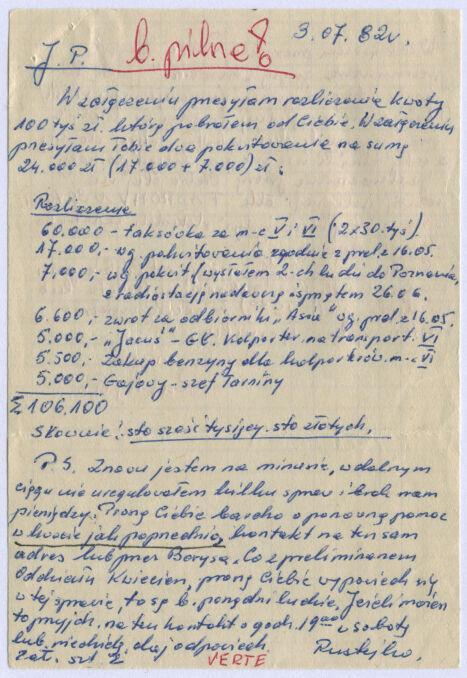 Notatka z rozliczeniem 100 tysięcy pobranych przez Tadeusza Świerczewskiego ps. Rustejko, jednego z najbliższych współpracowników Kornela Morawieckiego. List pisany był do Józefa Piniora