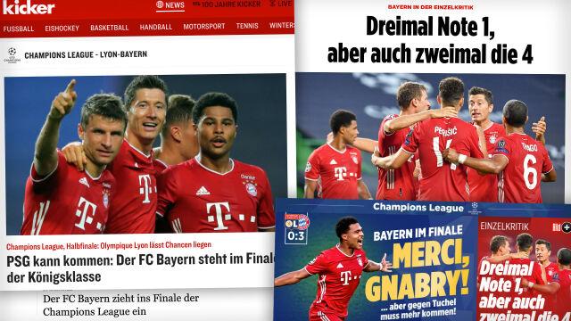 """""""Merci, Gnabry!"""", """"Bayern wyciąga rękę po trofeum"""""""