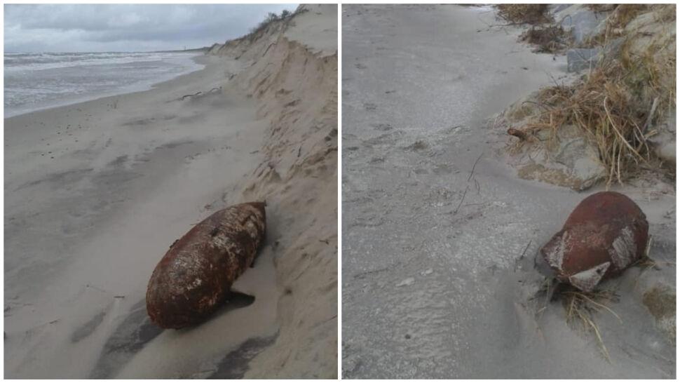 Sztorm odsłonił niewybuchy na plaży w Mielnie
